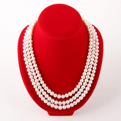"Колье ""Жаклин"" - белый натуральный жемчуг, серебро, 49-53 см. Скидка!"