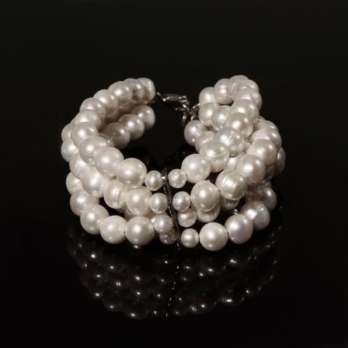Браслет - натуральный белый жемчуг, серебро. Скидка 56%!