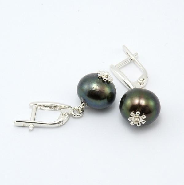 серьги черный жемчуг серебро