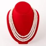 """Колье """"Жаклин"""" - белый натуральный жемчуг, серебро, 49-53 см"""