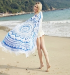 Пляжный коврик Мандала голубой