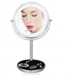 Двойное зеркало для макияжа с LED подсветкой, на ножке, 5X
