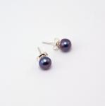 Серьги-гвоздики - натуральный серо-синий жемчуг, серебро